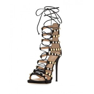 Black Strappy Sandals Lace up Rhinestone Stiletto Heels