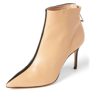 Nude and Black Contrast Stiletto Heel Ankle Booties