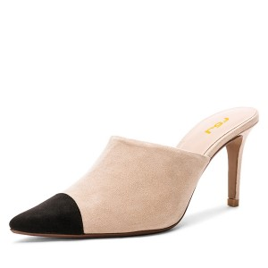 Nude and Black Two-tone Stiletto Heels Mule