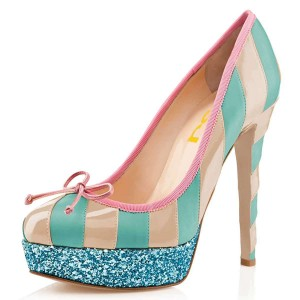 Nude And Cyan Bow Glitter Platform Heels Pumps