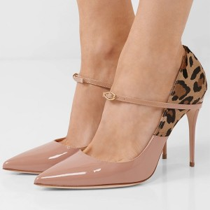 Blush and Leopard Print Stiletto Heel Mary Jane Pumps