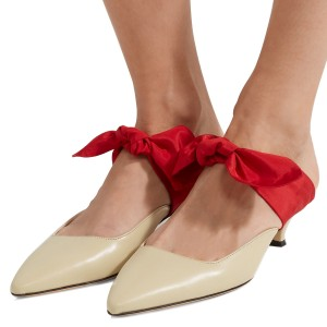 Nude and Red Bow Pointy Toe Kitten Heel Mules