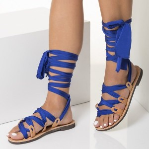 Nude Beach Gladiator Sandals Royal Blue Scarves Strappy Sandals