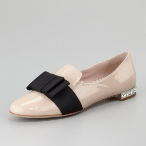 Nude Bow Patent Leather Flat Loafers For Women