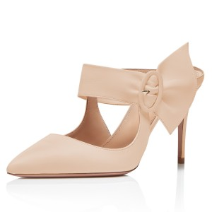 Nude Buckle Mules