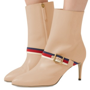 Nude Buckle Strap Fashion Almond Toe Ankle Booties