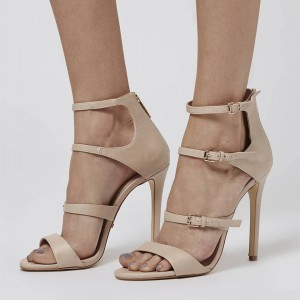 Nude Buckles Strappy Sandals Open Toe Stiletto Heels Sexy Sandals