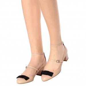Nude Chunky Heels Two Strap Mary Jane Pumps with Bow