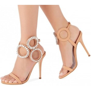 Nude Circle Rhinestones Stiletto Heels Sandals