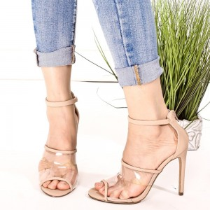 Nude Clear Heels Ankle Strap Sandals