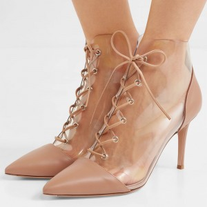 Nude Clear PVC Lace Up Boots Stiletto Heel Ankle Boots