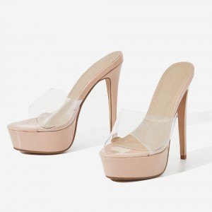 Nude Patent Leather Clear PVC Platform Mule Heels