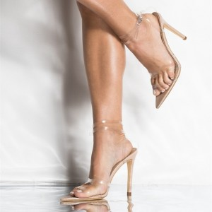 Nude Clear Stiletto Heels Sandals Sexy Transparent Ankle Strap Sandals