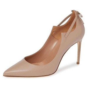 Nude Curve Strap Stiletto Heels Pumps