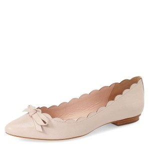 Nude Curvy Bow Comfortable Flats