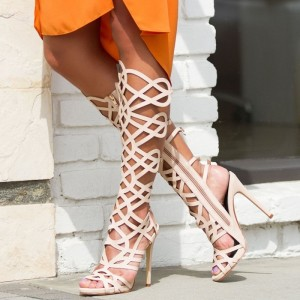 Nude Cut out Gladiator Heels Knee-high Stiletto Heels Sandals