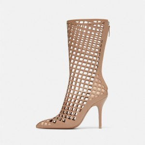 Nude Cut out Cage Mid Calf Summer Boots Hollow out Sexy Stiletto Boots