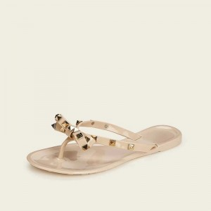 Nude Flat Thong Sandals with Studs