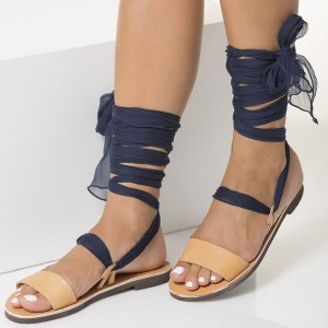 Nude Gladiator Sandals Open Toe Strappy Sandals with Navy Scarves