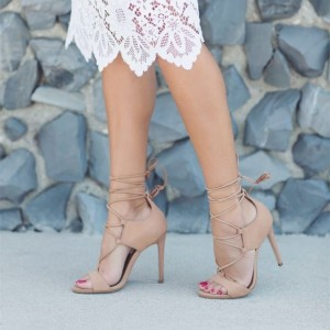 Nude Hollow out Lace up Stiletto Heels Strappy Sandals