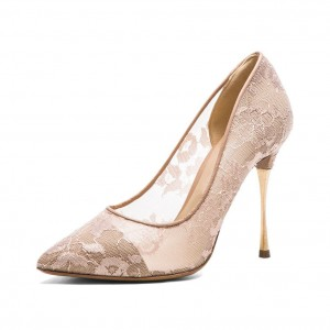 Nude Bridal Shoes Lace Heels Pointy Toe Stiletto Heel Pumps