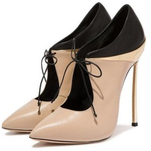 Nude Lace up Heels Pointy Toe Stiletto Heels Pumps for Women