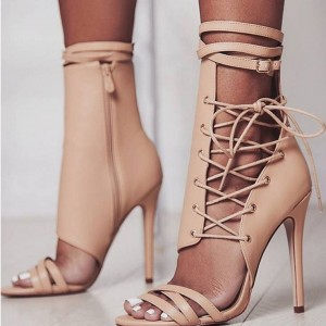 Nude Lace up Sandals Stiletto Heels Open Toe Summer Sandals