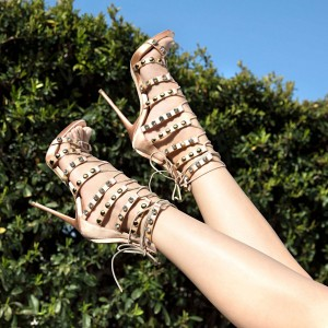Nude Lace Up Studs Gladiator Heels Sandals