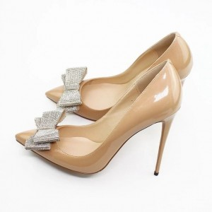 Nude Patent Leather Stiletto Heel Bow Low-cut Pumps