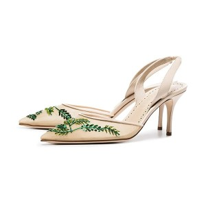 Nude Mesh Sequined Pointy Toe Stiletto Heel Slingback Pumps