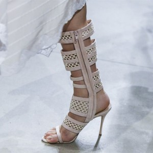 Nude Nets Hollow out Stiletto Heel Gladiator Heels Sandals with Zip