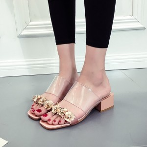 Nude Open Toe Gold Flower Block Heels Clear Mule Sandals