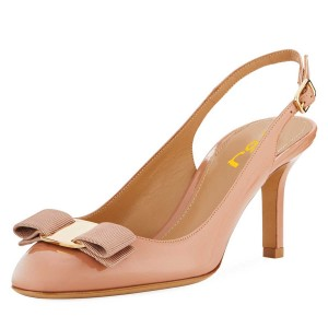 Nude Patent Leather Bow Stiletto Heel Slingback Pumps