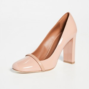 Nude Patent Leather Chunky Heels Pumps