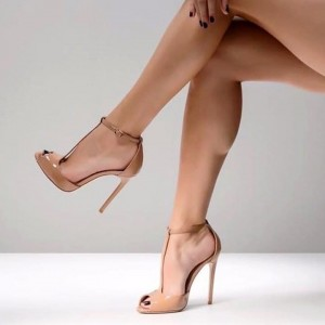 Nude Patent Leather Peep Toe Stiletto Heel T Strap Pumps