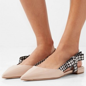 Nude Patent Leather Plaid Bow Flat Slingback Shoes