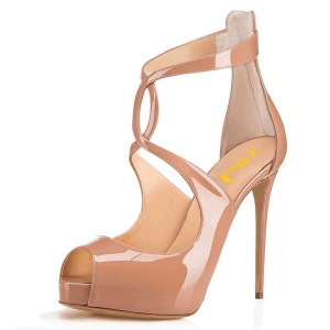 Nude Patent Leather Platform Peep Toe Cross Over Stiletto Heels Pumps