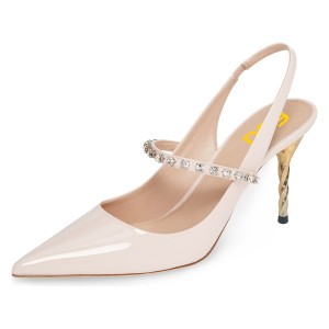 Nude Patent Leather Slingback Heels Rhienstone Stiletto Heel Pumps