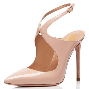 Nude Patent Leather Slingback Pumps Stiletto Heel Pointy Toe