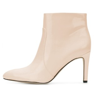 Nude Patent Leather Stiletto Heel Ankle Booties for Women