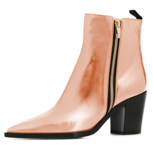 Nude Patent Leather Zipper Chunky Heels Women's Ankle Boots