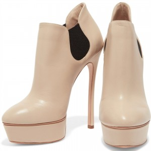 Nude Platform Boots Chelsea Stiletto Heel Ankle Boots