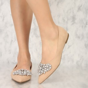 Nude Pointed Toe Comfortable Flats with Rhinestone for Women