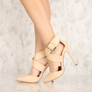 Nude Pointy Toe Cross Strap Buckle Stiletto Heel Pumps