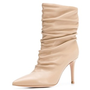 Nude Pointy Toe Stiletto Boots Fashion Slouch Boots
