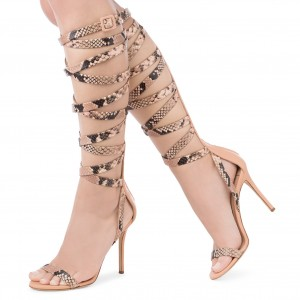 Nude Python Knee High Open Toe Stiletto Heel Strappy Sandals