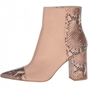 Nude Python Pointy Toe Chunky Heel Ankle Booties