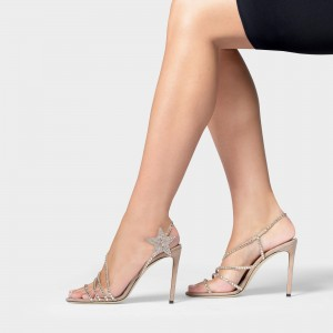 Nude Rhinestone Heels Slingback Stiletto Heel Sandals Office Heels