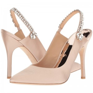 Blush Satin Rhinestones Stiletto Heel Slingback Pumps for Wedding