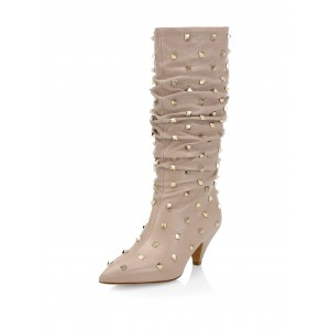 Nude Slouch Boots Studs Pointy Toe Kitten Heel Boots